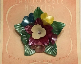 Vintage Deadstock 1940'S / 50'S Vintage Novelty Multi Bell Flower Brooch
