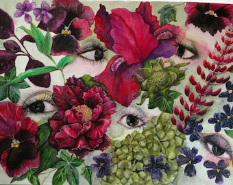 A5 Limited Edition Giclée Print of original watercolour painting 'Garden of Eyes'