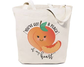 You've Got a Peach of My Heart Cotton Canvas Reusable Grocery Bag and Farmers Market Tote Bag, Food Pun, Shopping, Funny Women's Bag, Gifts