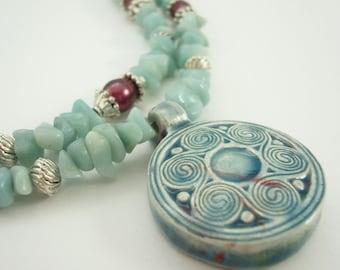 Amazonite Necklace Raku Ceramic Pendant Fresh Water Pearls Plus Size