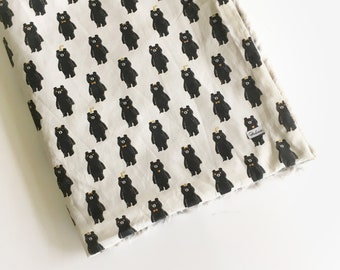 Boys Crib Blanket Bear Baby Blanket - Fur Blanket Black White Blanket /Baby Stroller Blanket /Modern Nursery Bedding /Ready to Ship
