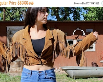 ON SALE vintage suede fringe jacket // Fringe Western Leather Jacket // fringe cropped jacket