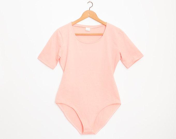 NOS vintage 90s pink bodysuit top size M