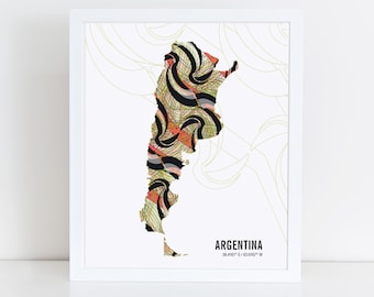 Argentina Map Travel Poster