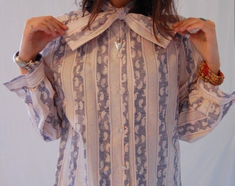 Vintage Ascot Blouse with Bow Tie Collar Neck
