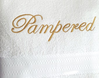 PAMPERED EMBROIDERED BATH Towel