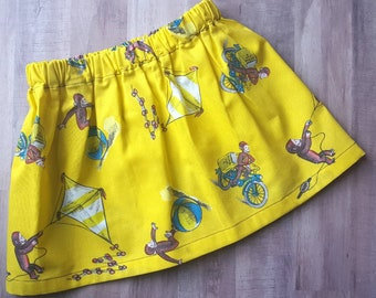 Curious George Skirt, Curious George flys a kite, Birthday outfit, twirl skirt