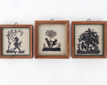 Vintage Frames Handmade Cut-out of Kids and Wilde Animals in Black and White