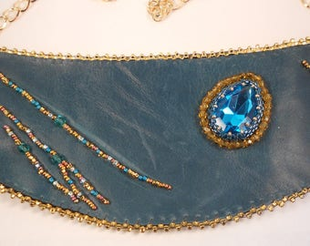Turquoise Leather, Rhinestone and Bead Embroidered Necklace
