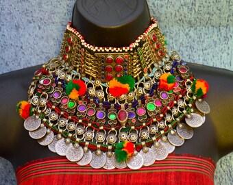 Afghan Tribal Necklace, Vintage Large Statement Handmade Jewellery Kuchi Boho Gypsy Necklace Ethnic Indian Banjara Jewellery Refurbished