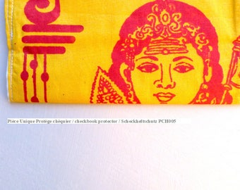 Checkbook protector made from recycled cotton Indian figure yellow red