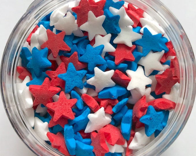 "FOURTH OF JULY Sprinkles, 1/4"", Red/White/Blue Stars, Patriotic, Independence Day, Net Wt 1.4 oz"