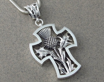 THISTLE CROSS silver pendant - Ready to ship