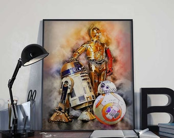 R2D2 C3PO and BB8 Star Wars Art Print Poster - Episode VII The Force Awakens PRINTABLE 8x10 inches - Ideal Last Minute Gift