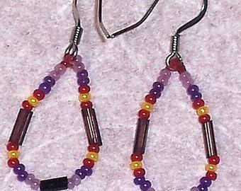 Native American Beaded Purple Teardrop Earrings