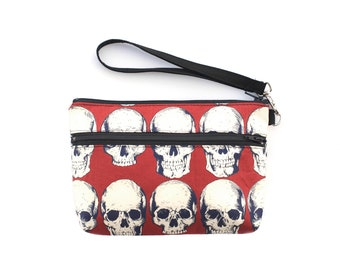 Rad Skull  Wristlet in red with removable strap - punk rock - rare fabric oop