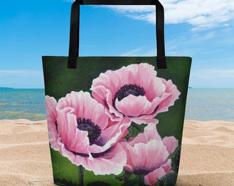 Pretty Pink Poppies Beach Bag