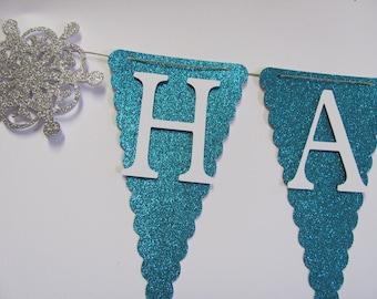 Glitter Blue, White, Snowflake Birthday Banner, Happy Birthday Banner, Happy Birthday, Girl Banner 1st Birthday, Frozen Birthday Decorations