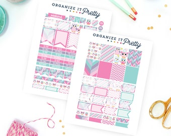 Printable Planner Stickers - Owl Planner Stickers - Pink, Purple and Turquoise | Fits Erin Condren Life Planner