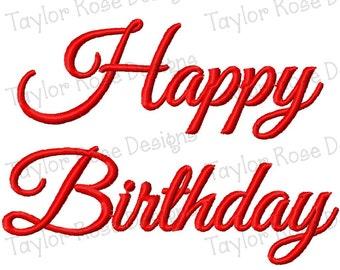 Happy Birthday Machine Embroidery Design 3x3 4x4 5x7 6x10 INSTANT DOWNLOAD