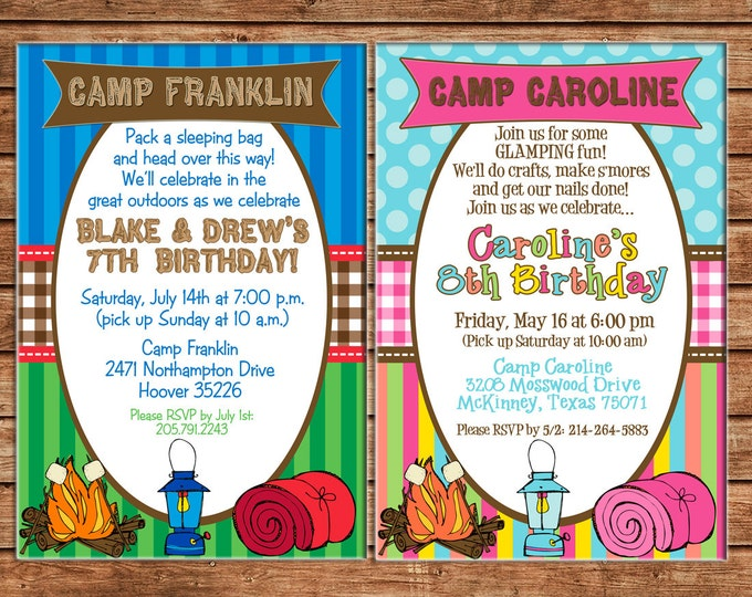 Boy or Girl Invitation Camping Smores Sleepover Outdoors Birthday Party - Can personalize colors /wording - Printable File or Printed Cards