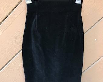 Italian Vintage High Waist Body Con Velvet Pencil Skirt