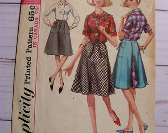 Wrap-Around Skirt w Pockets and Blouse | Simplicity 6056 | Misses 14 bust 34 | cut used complete vintage 1965 sewing pattern