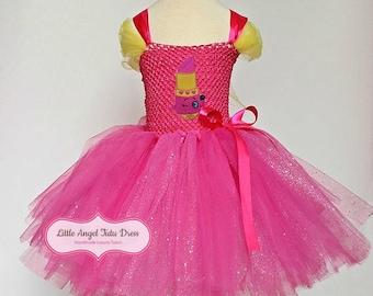 Shopkins Lippy Lips Tutu Dress. Shopkins Inspired Dress. Extra Cute Pink Tutu Dress. Lippy Lips Dress. Birthday Party Dress. Handmade Dress