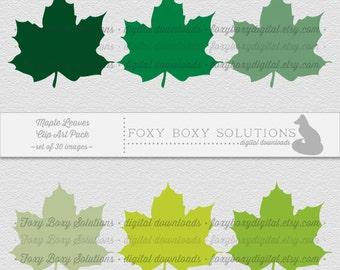 Digital Download Maple Leaf Spring Clipart for Digital Scrapbooking - Instant Download Set of 30 Images - Leaf Clipart Illustration