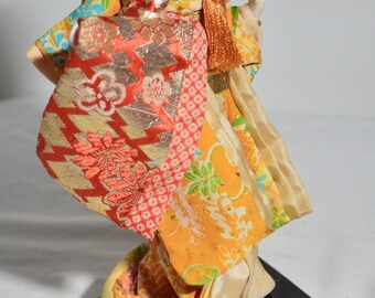 Beautiful Vintage 1950s Handcrafted Japanese Nishi Silk Kimono Geisha Doll Made in Japan