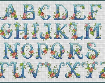 Floral Monogram Alphabet Cross Stitch Pattern Roses Alphabet Cross Stitch Chart PDF Floral ABC Instant Download in Stock Till May 25th