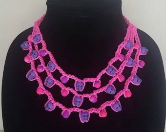 Pink and purple crochet skull necklace- Dia de los muertos