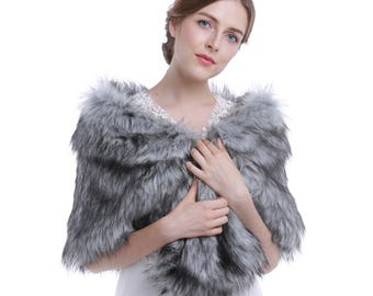 Gray Sleeveless Faux Fur Bride Bridesmaid Shawl