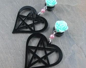 "Dangle Plugs - 9/16"" 14mm - Black Pentagram Plugs - Pastel Goth - Dangle Gauges - Plug Earrings - Alternative Wedding - Rose and Pearl"
