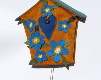 Birdhouse with bird (orange, blue, green water) wool felt