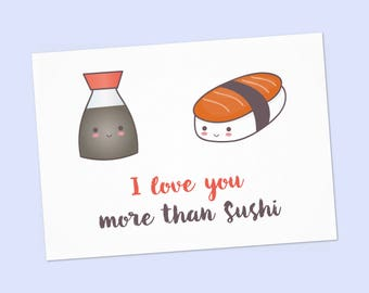 "Nigiri sushi salmon and Soy sauceAnniversary card PDF DIY printable 6""x4"" - funny Valentine card - instant card I love you more than sushi"