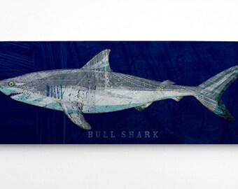 Fathers Day Gift for Him Fishing, Shark Decor, Bull Shark Art Block, Bull Shark Print, Shark Nursery Decor, Navy Fish Art on Wood