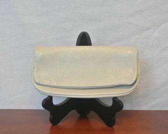 Vintage White Leather Clutch Purse