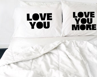 Wedding Gift Love You Love You More Pillow case Set Couples Pillow Love The Beatles Pillows His and Hers Pillows Mr Mrs Gift