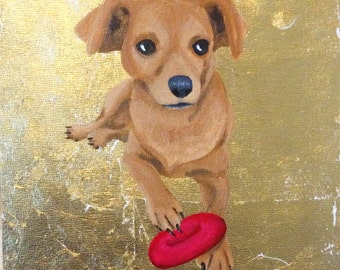 Custom Pet Portrait Gold Leaf, Personalized Dog Memorial Cat Painting, Idea For Her Boyfriend Husband Wife Dad Mom Parent Christmas Holiday