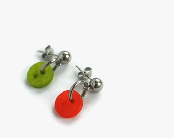Dangling earrings made of recycled button earrings red orange, green earring, recycled button, stainless steel