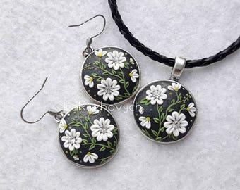 Polymer Clay Filigree Earrings - - Boho Jewelry -- Dangle earrings, white green