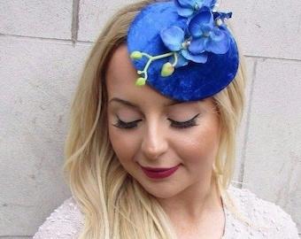 Electric Blue Velvet Orchid Flower Fascinator Hat Races Headpiece Hair Clip 2663
