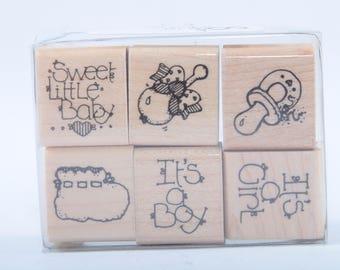 Stempel Set, sechs Stempel, süße kleine Baby, Vintage, Kartengestaltung, Handwerk, personalisierte, neue Baby-Karten ~ 170323