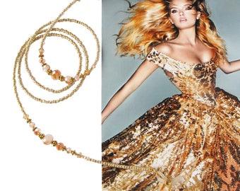 EYEWEAR HOLDER, Gold metallic lustre and gold, beaded glasses chain, eyewear chain, glasses chain, glasses holder, sunglasses chain