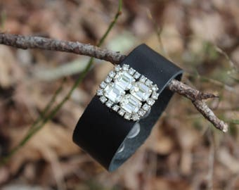 Leather Cuff with Rhinestone Bling