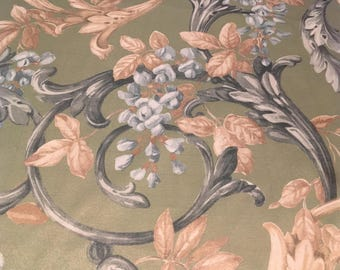 Vintage - PolyCotton blend provincial scroll style in pale  blue grey and taupe on pale green