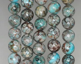 10mm Fossil Crinoid Gemstone Grade AA Aqua Blue Round Loose Beads 7.5 inch Half Strand (90186021-880)