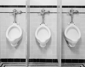 Bathroom Art, 3 Urinals Photo, Bathroom Decor, Bathroom Print, Black White,  Mid Century Photography, 1950s, Cave Man Decor, Menu0027s Room