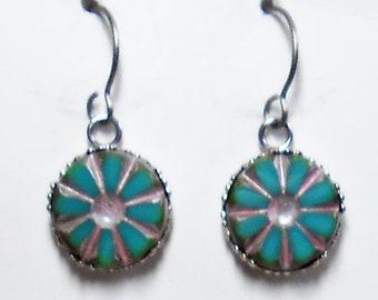 Czech Glass  Earrings Titanium Hypoallergenic Turquoise Aqua